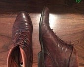 Womens vintage 1980's/90's chocolate brown leather Nine West ankle boots size 7/7.5