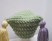 "blackfridaycybermonday light green hat crocheted acrylic lavender yellow with tassels ""beau jest"""