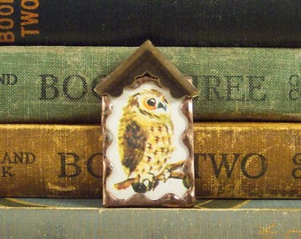 Owl Birdhouse Pendant - Rustic Birdhouse Charm - Mixed Media Jewelry - Copper Owl Soldered Pendant - Vintage Book Page Charm