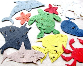 10 Plantable Sea Animal Baby Shower Favors - Flower Seed Paper Sea Turtles Crabs Fish Sharks and More Beach Birthday Party Favors Aquarium