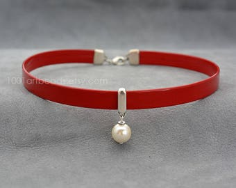 Leather collar, Red choker with dangling pearl, Choker necklace, bdsm day collar, submissive day collar, Pearl Chocker, gift for girlfriend