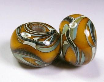 Lampwork Boro Beads, Glass Bead Pairs, Pumpkin, Bead Earring Pairs, Lampwork Glass Beads, BBGLASSART, Boro Glass Beads, Tangerine Grove