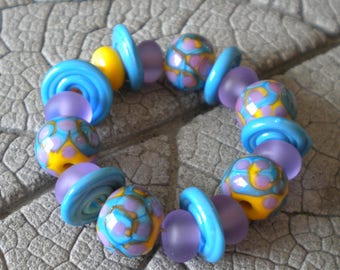 Purple Yellow Turquoise Lampwork Beads by Cherie Sra R114 Flameworked Glass Beads Lampwork Purple Turquoise Yellow Round Disk Etched Spacer