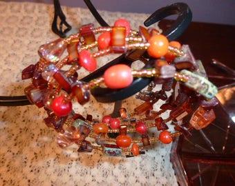 Handmade Memory Wire Bead Wrap Bracelet in Bronze and Orange, Many Quality Beads in Czech Glass, Shell, Unusual Beads in a Fun Bracelet