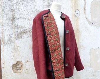 ON SALE 20% Vintage 1970/70s Trachten Dirndl Austria boiled wool  jacket / oktoberfest  size L/Xl