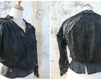 Vintage Antique victorian 1890/1900 black embroidered net   blouse size S