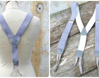 Vintage Antique  French large men pair of braces soft gray /suspenders