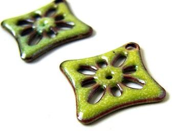 Green Enameled Flower Charms