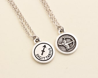 Silver Sagittarius Necklace - Sagittarius Jewelry - Personalized Zodiac Necklace - Birthday Gift -  Astrology Pendant - Gift For Daughter