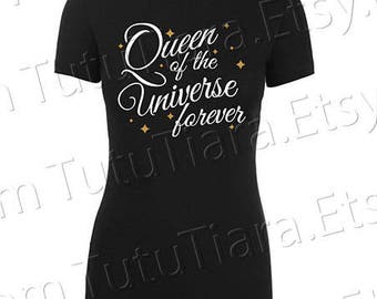 Queen of the Universe Forever Sparkle Shirt Graphic Tee Gold Black and White T-shirt for girls, teens, women