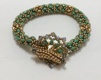 Green and Gold Bracelet with Crystal Beaded Toggle