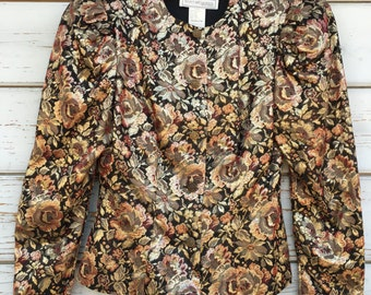 Vintage 80s/90s Scott McClintock jacket,blazer,metallic,gold,designer,holiday,floral,festive,party,fitted,sexy,night out,USA made,unique