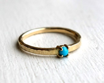 Tiny Turquoise Ring in 14k Gold