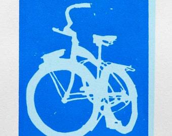 Bike Art Print - Schwinn Cruiser Bicycle - Blue on Blue - Wall Art Bike Print
