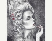 25% OFF Marie Antoinette Art Print Rococo Art Gothic Art Vampire Art Print 8x10 Halloween Art Versailles