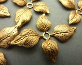 6 Detailed Four-Leaf Brass Rivet Findings - Small