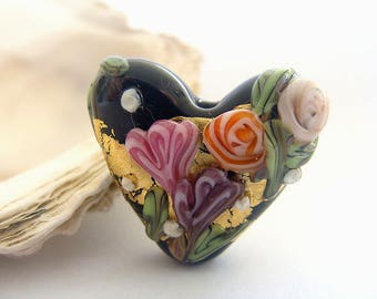 Golden Black Heart Bead Handmade Lampwork
