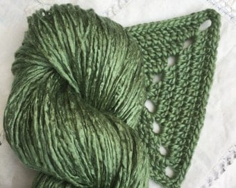 Silk Yarn Hand Dyed Worsted weight - Kale Green