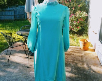 Vintage Lane Bryant Exquisite Plus Size Turquoise Blue Sateen Cocktail Dress