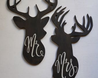 Mr. & Mrs. Deer Head Signs - wedding - anniversary - engagement - marriage - reception decor