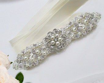 Silver wedding sash bridal belt rhinestone wedding dress sash pearl bridal belt crystal sash pearl, pearl ivy collection