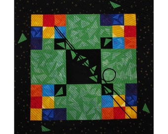 Colorful Abstract Art Quilt, Fabric Wall Hanging, Fiber Art, Traditional Nine Patch Block