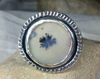 Dendritic Agate  ring , Statement ring,  Silver and dendritic agate Statement Ring, nature jewelry