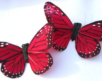 Butterfly Hair Clips red and black Monarch feather butterfly hand made hair clips by Ziporgiabella
