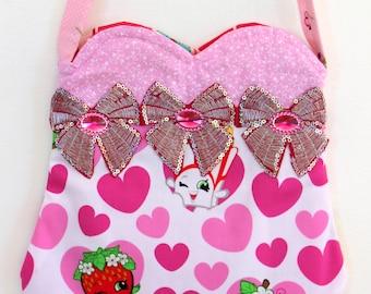 Shopkins purse, floral purse, toddler purse, girls purse, pom pom purse