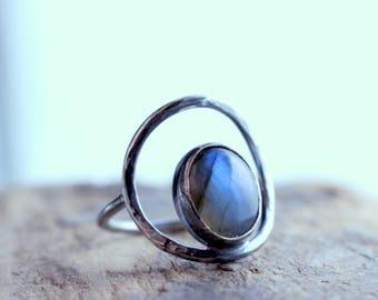 Rustic Sterling Silver Labradorite Circle Ring