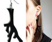 Black Branch Antler Leather Earrings