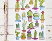 Cactus Watercolor MATTE Sticker Sheet | For Kikki K, Erin Condren, FiloFax or other Journals and Planners