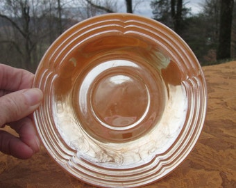 Three Fire King Peach Lustreware Saucers - Fire King Oven Ware - USA