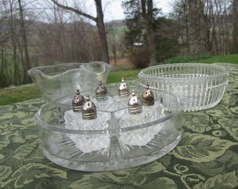 Vintage Glassware Assortment - Glass Buffet Grouping - Nine Glass Serving Pieces
