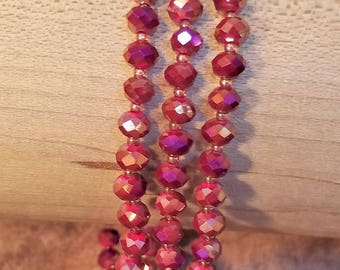 Brown Magenta Gold Multi-Strand Bracelet, Brown Magenta Gold Bead Bracelet, Handmade Bracelet, Three Strands