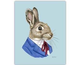 Rabbit print - animal print - modern kid art - woodland nursery - modern nursery - animals in clothes - easter decor - Ryan Berkley 8x10