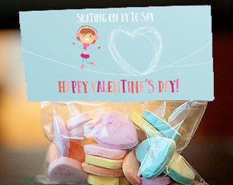 Ice skating valentine's Day treat bag topper, girl valentine, custom printable treat bag topper, editable pdf - instant download
