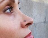 Labradorite-Healing Stone-Sterling Silver-14K Gold-Nose Stud-Tragus-Earrings / Free US Shipping