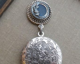 Locket Necklace, Antique Button, Picture Button, Victorian Button, Flower Design, Blue Tint, Timeless Trinkets