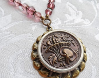 Antique Button Necklace with Purple Czech Glass Beads- Basket of Flowers