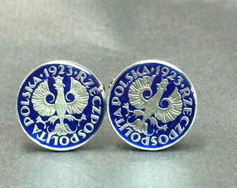 1923 Poland coin cufflinks old coin 10 Groszy 18mm.
