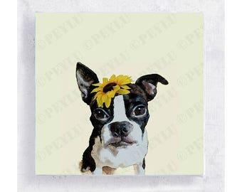 Dog Art - Animal Art - Boston Terrier - Zoey - Canvas Print - 5x5 Art Block - Dog Portrait - Dog with Hats - Kid's Art - Nursery Wall Decor