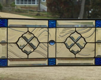 Blue, Aqua Stained glass and Beveled Panel