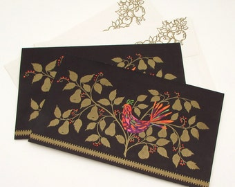 Set of 2 Vintage Christmas Cards - vintage greeting card lot - gilt - gold embellished - partridge in a pear tree