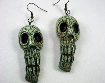 Tiki Skulls, Shrunken Head, Skeleton, Voodoo, Shabby Chic  Zombie Head Earrings