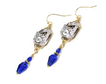 Steampunk Jewelry Earrings Gold ART DECO Watch Cobalt Blue Crystal Dangle Earrings, Wedding, Birthday Mothers Day - Jewelry by edmdesigns