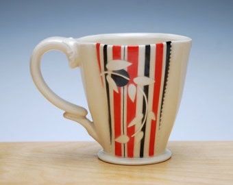 Super Stripes Deluxe clover cup in Ivory w. Red & Black Pinstripes and Polka dots, Victorian mod