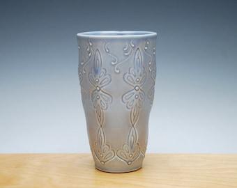Periwinkle tumbler / small vase, Victorian folk