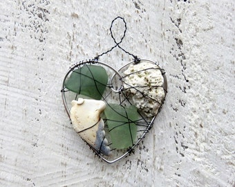 Nautical Green Seaglass and Beach Finds Suncatcher Ornament