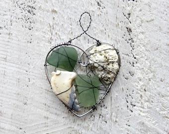 Nautical Green Seaglass and Beach Finds Suncatcher Ornament